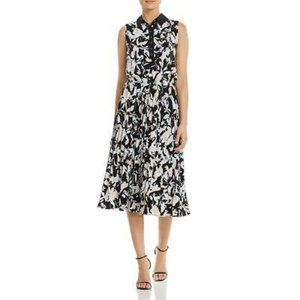 DONNA KARAN Printed abstract Pleated Midi Dress